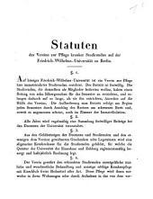 Statuten des Vereins zur Pflege kranker Studirender auf der Friedrich-Wilhelms-Universität zu Berlin