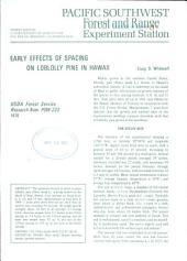 Early Effects of Spacing on Loblolly Pine in Hawaii