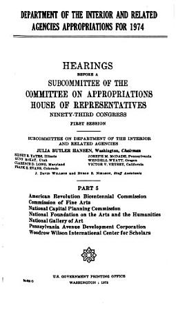 Department of the Interior and Related Agencies Approprations for 1974 PDF
