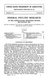 Federal poultry research at the agricultural research center, Beltsville, Md