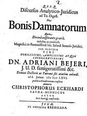 Discursus anal. iur. ad tit. Digest. de bonis damnatorum