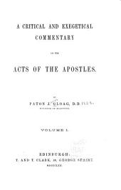 A Critical and Exegetical Commentary on the Acts of the Apostles: Volume 1