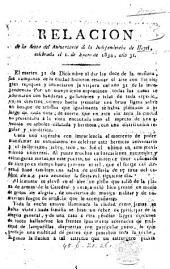 Relacion de la fiesta del aniversario de la independencia de Hayti, celebrada el 1. de Enero de 1834, año 31 (de la independencia.).