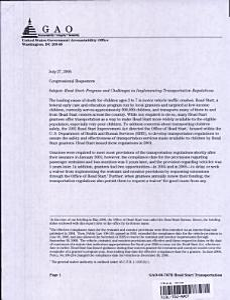 Head Start  Progress   Challenges in Implementing Transportation Regulations Book