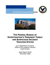 Federal Bureau of Investigation's Terrorist Threat and Suspicious Incident Tracking System