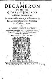 Il Decameron, di nuovo ristampato, e riscontrato in Firenze con testi antichi, et alla sua vera lezione ridotto dal cavalier Lionardo Salviati. 2. ed