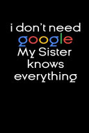 I Don't Need Google My Sister Knows Everything Notebook Birthday Gifts