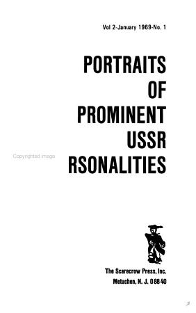 Portraits of Prominent USSR Personalities PDF