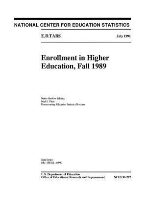 Enrollment in higher education  Fall 1989 PDF