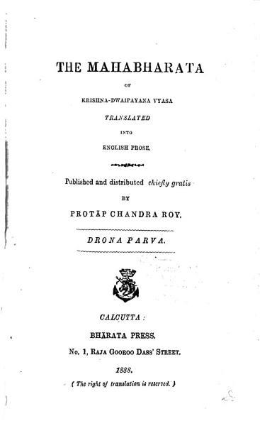 Download The Mahabharata of Krishna Dwaipayana Vyasa Translated Into English Prose    anti parva  1890 1891  Book