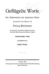 Geflügelte Worte: Der Zitatenschatz des deutschen Volkes