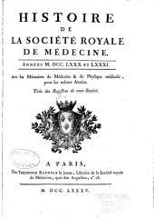Histoire de la Société royale de médecine année ...: avec les Mémoires de médecine et de physique médicale, Volume4