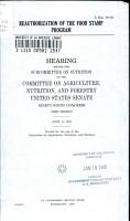 Reauthorization of the Food Stamp Program PDF