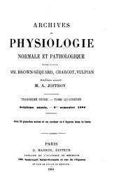 Archives de physiologie normale et pathologique