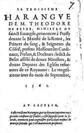 La troisième Harangue, prononcée a Poissy