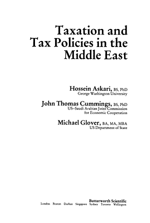 Taxation and Tax Policies in the Middle East PDF