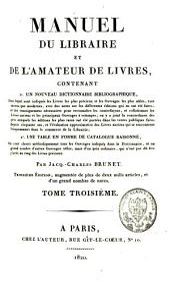 Manuel du libraire et de l'amateur de livres [...]: Volume3