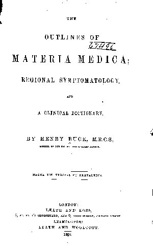 The Outlines of Materia Medica  Regional Symptomatology  and a Clinical Dictionary