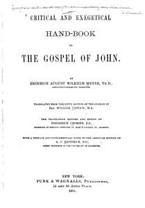 Critical and Exegetical Hand book to the Gospel of John PDF