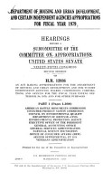Department of Housing and Urban Development  and Certain Independent Agencies Appropriations for Fiscal Year 1979 PDF