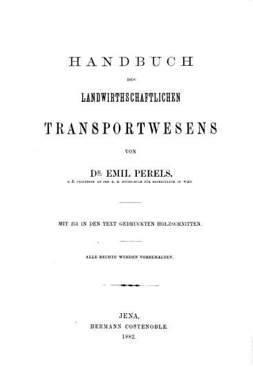 Handbuch des landwirthschaftlichen Transportwesens PDF