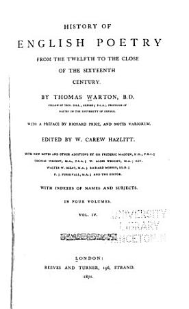 History of English Poetry from the Twelfth to the Close of the Sixteen Century PDF