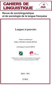 Langues et pouvoirs: Cahiers de linguistique