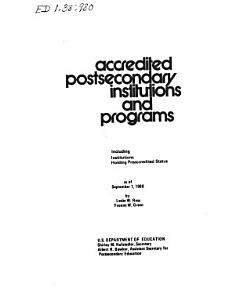 Accredited Postsecondary Institutions and Programs