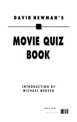 David Newman s Movie Quiz Book PDF