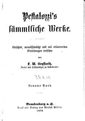 Pestalozzi s s  mtliche Werke PDF