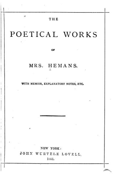 Download The Poetical Works of Felicia Hemans Book