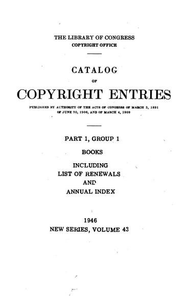 Download Catalog of Copyright Entries  Third Series Book