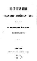 Dictionnaire fran  ais arminien turc PDF
