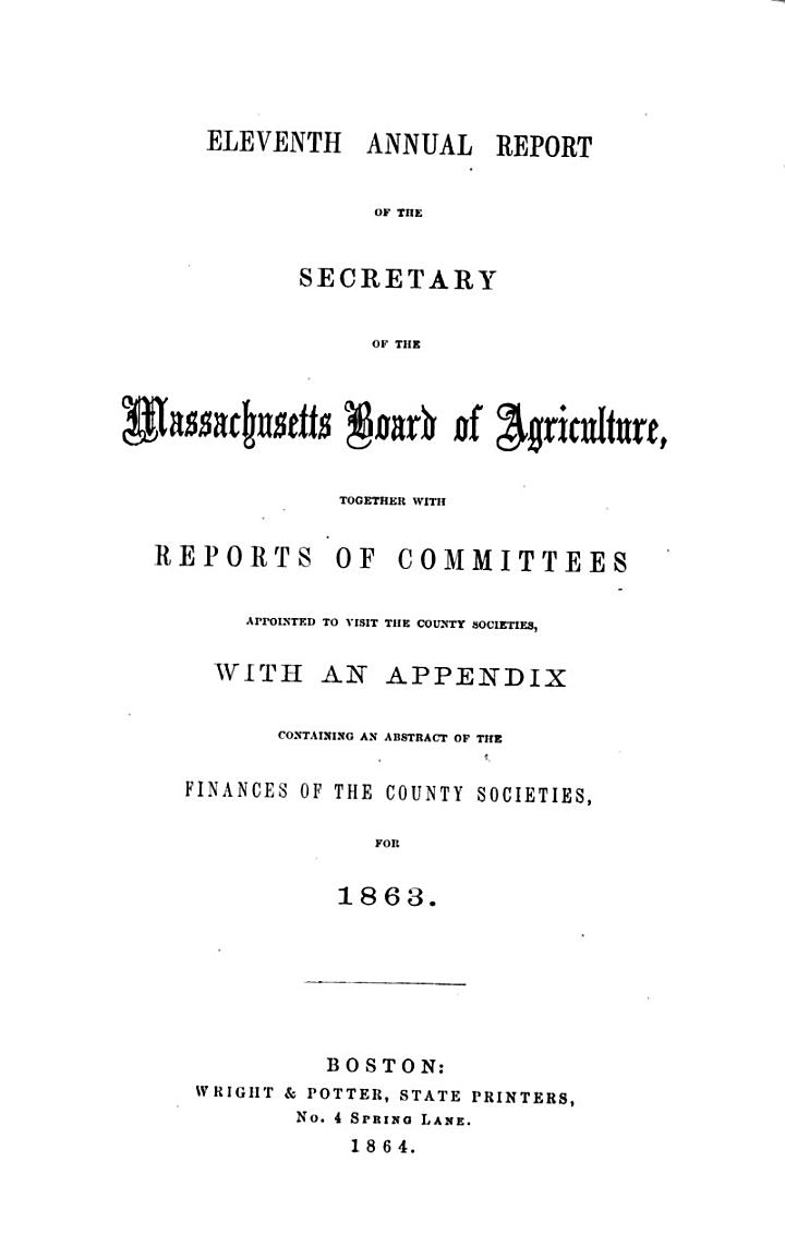 Annual report of the Secretary of the Massachusetts Board of Agriculture
