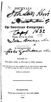 Journals of the American Congress from 1774-1788: In Four Volumes