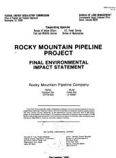 Rocky Mountain pipeline project: final environmental impact statement : Rocky Mountain Pipeline Company FERC docket no. CP79-424, BLM case no. U-45957