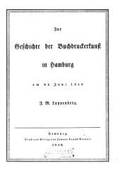 Zur Geschichte der Buchdruckerkunst: in Hamburg am 24. Juni 1840 : mit Holzschnitt-Illustr