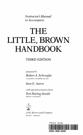 Instructor s Resource Manual to Accompany The Little  Brown Handbook  Ninth Edition PDF