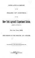 Annual Report of the Board of Control of the New York Agricultural Experiment Station PDF