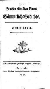 Joachim Christian Blums Sämmtliche Gedichte ...
