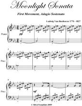 Moonlight Sonata 1st Mvt - Easy Elementary Piano Sheet Music