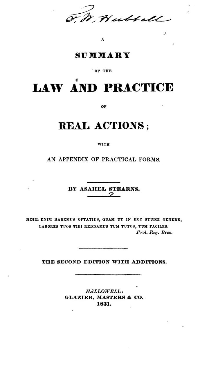 A Summary of the Law and Practice of Real Actions