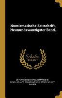 Numismatische Zeitschrift  Neunundzwanzigster Band  PDF