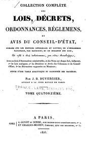 Collection complète des lois, décrets d'intérêt général, traités internationaux, arrêtés, circulaires, instructions, etc: Volume14