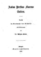 Satiren: Deutsch im Versmasse der Urschrift nebst Erläuterungen von Wilhelm Binder