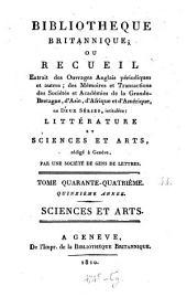 Bibliothèque britannique, ou Recueil extrait des ouvrages anglais périodiques et autres: Volume 44