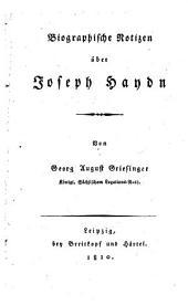 Biographische Notizen über Joseph Haydn