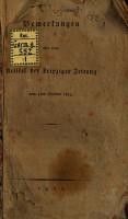 Bemerkungen   ber einen Artikel der Leipziger Zeitung vom 5ten October 1813 PDF