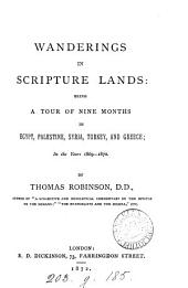 Wanderings in Scripture Lands: Being a Tour of Nine Months in Egypt, Palestine, Syria, Turkey and Greece ... 1869-1870