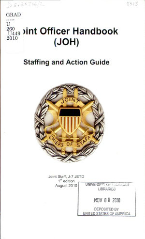 Joint Officer Handbook  JOH  Staffing and Action Guide